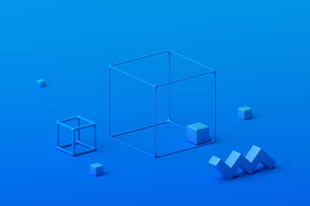 Abstract 3d render, geometric composition, blue background design with cubes