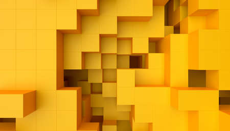 Abstract 3d render, yellow geometric background design with cubes