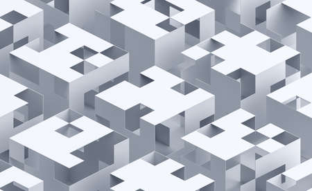 Abstract 3d render, white geometric background design