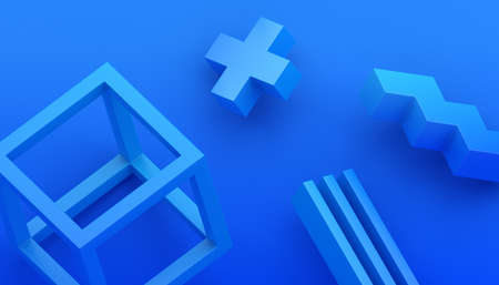 Abstract 3d render, modern background with geometric shapes, graphic design 免版税图像