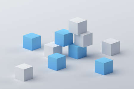 Abstract 3d render, geometric composition, modern background design with cubes 免版税图像