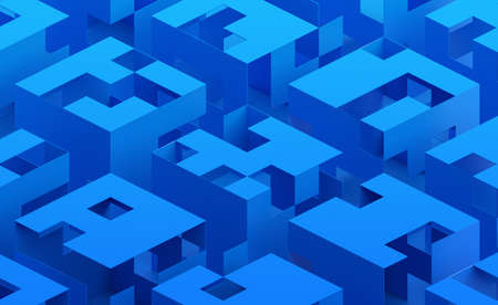 Abstract 3d render, blue geometric background design