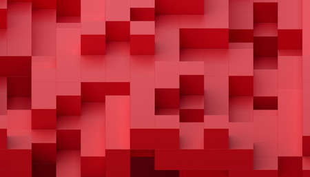Abstract 3d render, red geometric background design with cubes