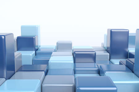 Abstract 3d render, geometric composition, background design with blue cubes