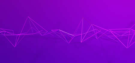 Abstract 3d render, purple background design, network concept