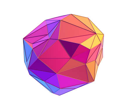Abstract 3d render, low poly geometric shape, modern design