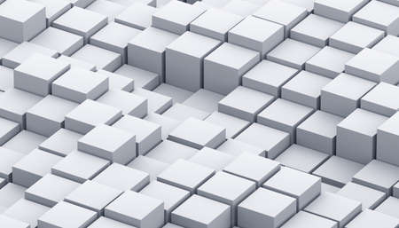 Abstract 3d render, geometric background design with white cubes