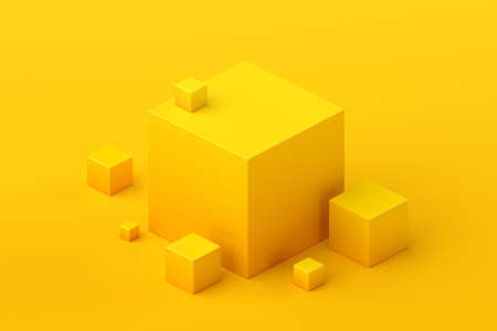 Abstract 3d render, geometric composition, yellow background design with cubes 免版税图像