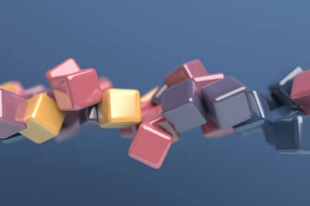 Abstract 3d render, multicolored geometric composition, background design with cubes