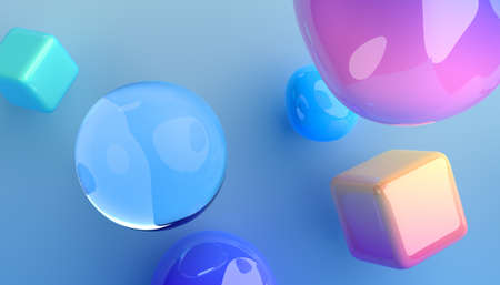 Abstract 3d render of colorful bubbles and cubes, background design 免版税图像