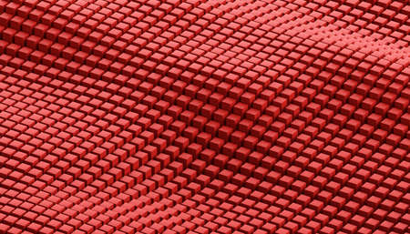 Abstract 3d render, background design with red cubes