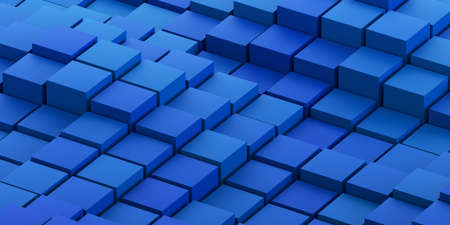 Abstract 3d render, geometric background design with blue cubes