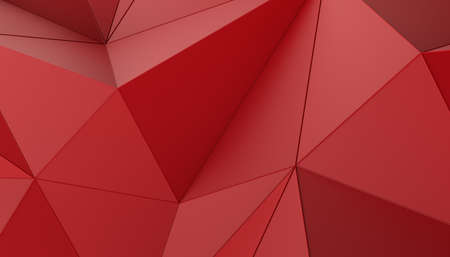 Abstract 3d render, red geometric background, modern design