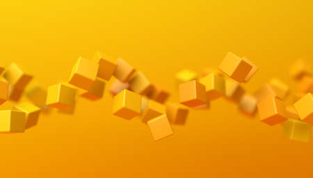 Abstract 3d render, geometric background design with yellow cubes