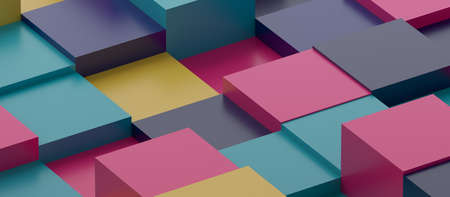 Abstract 3d render, geometric composition, multicolor background design with cubes