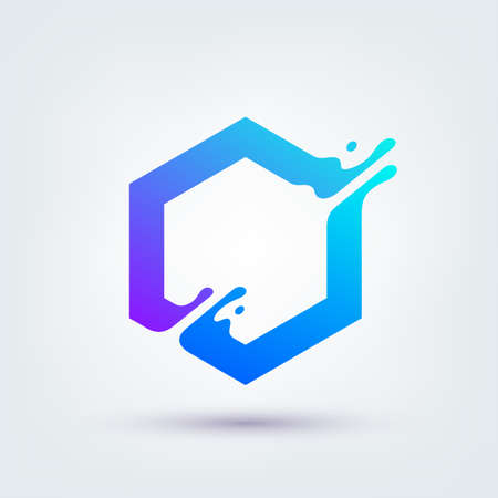Vector illustration, abstract liquid shape of a hexagon symbol, logo design Logo