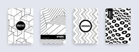 Abstract background design, set of modern striped patterns, vector illustration