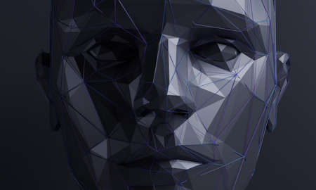 Abstract human face, 3d render, artificial intelligence concept
