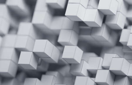 Abstract 3d render, white geometric background design with cubes