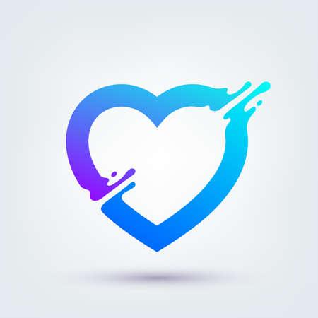 Vector illustration, abstract liquid shape of a heart symbol, logo design