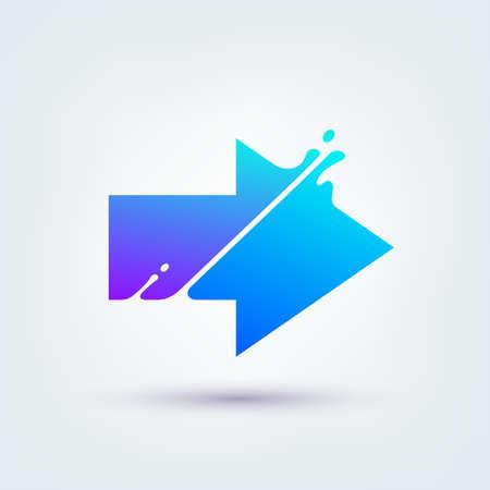 Vector illustration, abstract liquid shape of an arrow sign, logo design 矢量图像