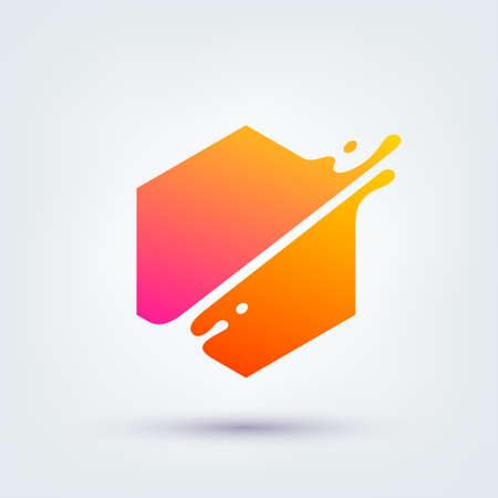 Vector illustration, abstract liquid shape of a hexagon, logo design