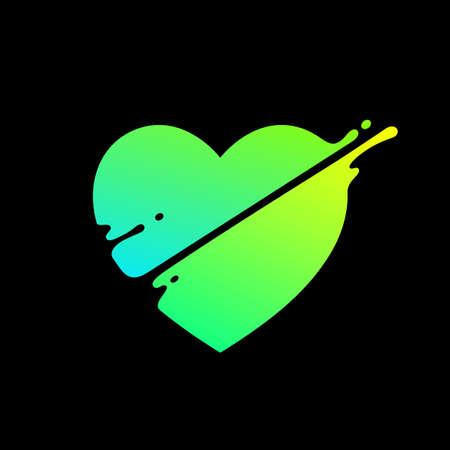Vector illustration, abstract liquid shape of a heart, logo design 矢量图像