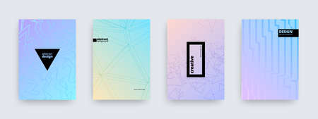 Background designs, set of modern pastel colored covers, abstract patterns, vector illustration