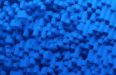 Abstract 3d render, blue geometric background design with cubes, blockchain concept
