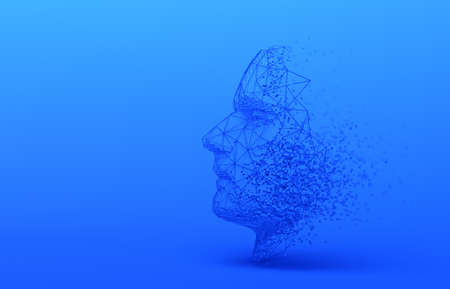 Abstract human face, 3d illustration of a head constructing from cubes and triangles, artificial intelligence concept