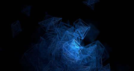 Abstract 3d render, dark background design with plexus shape, network concept 免版税图像