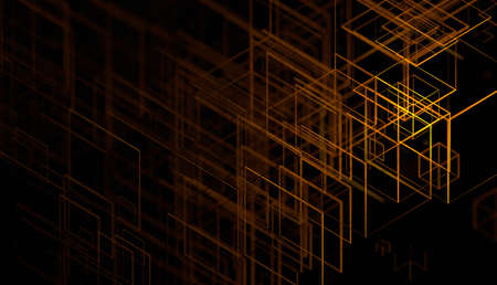 Abstract 3d render, futuristic background design with orange lines
