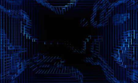Abstract 3d render, dark futuristic background design, big data concept
