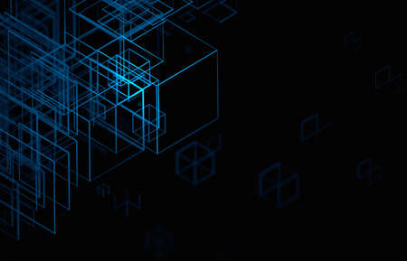 Abstract 3d render, futuristic background design with blue wireframed shape