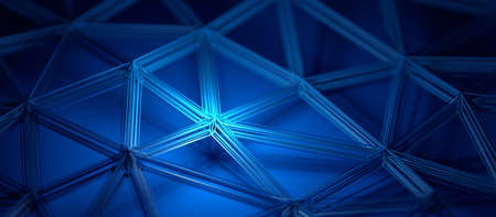 Abstract 3d render, blue background design with connected lines, network concept 免版税图像