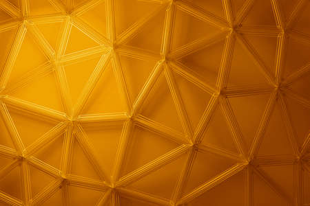 Abstract 3d render, yellow background design with connected lines, network concept 免版税图像