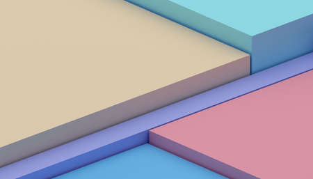 Abstract 3d render, geometric composition, colorful background design