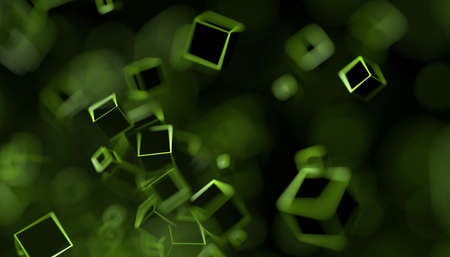 Abstract 3d render, dark background design with cubes
