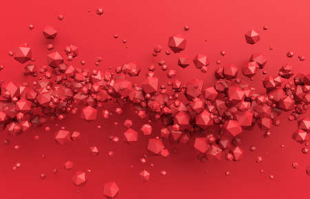 Abstract 3d render, red background design with particles