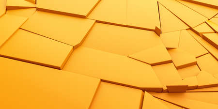 Abstract 3d render, yellow cracked surface, modern background design