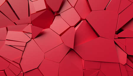 Abstract 3d render, red cracked surface, modern background design