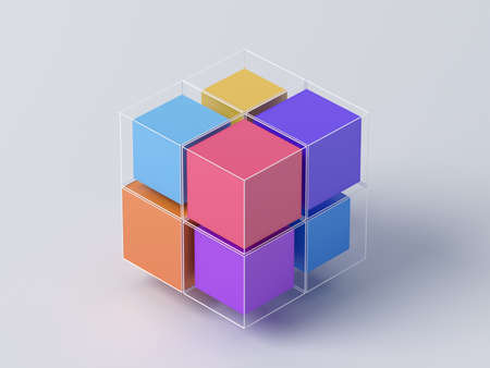 Abstract 3d render, geometric background design with cubes