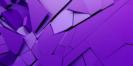 Abstract 3d render, purple cracked surface, modern background design