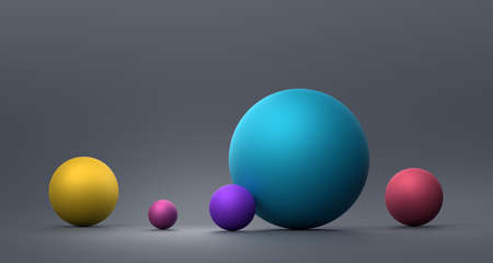 Abstract 3d render of composition with colorful spheres, modern background design