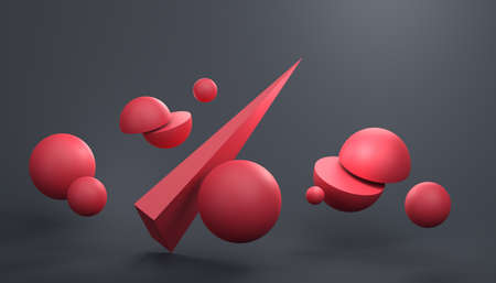 Abstract 3d render of composition with red spheres, modern background design