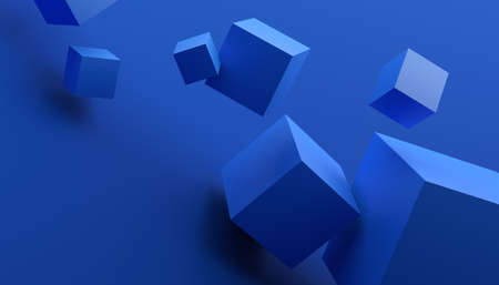 Abstract 3d render, blue geometric background design with cubes 免版税图像