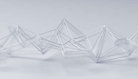 Abstract 3d render, white background design with connected lines, network concept 免版税图像