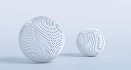 Abstract 3d render, modern background design with white spheres