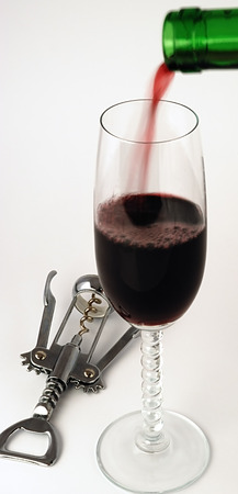 scene of the goblet and filled in it blame and corkscrew Stock Photo - 1545507