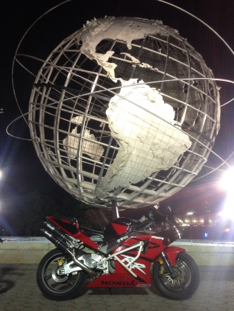 Bike next to the globe in flushing meadow park